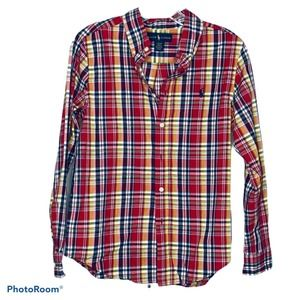 Ralph Lauren Boy Red Yellow Plaid Collared Shirt L